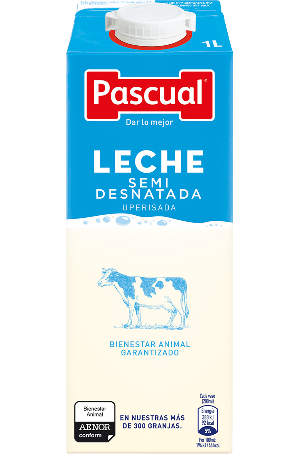 Leche Semidesnatada Pascual - Leche de Bienestar Animal